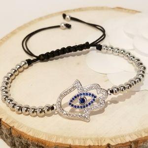 NEW Hamsa Evil Eye Pave CZ Bracelet